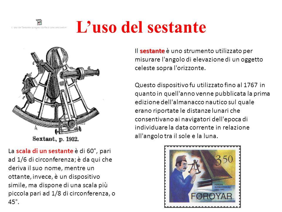 L'uso del sestante sestante Il sestante è uno strumento utilizzato per misurare l angolo di elevazione di un oggetto celeste sopra l orizzonte.