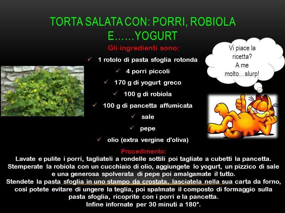 TORTA SALATA CON: PORRI, ROBIOLA E……YOGURT Gli ingredienti sono: 1 rotolo di pasta sfoglia rotonda 4 porri piccoli 170 g di yogurt greco 100 g di robi