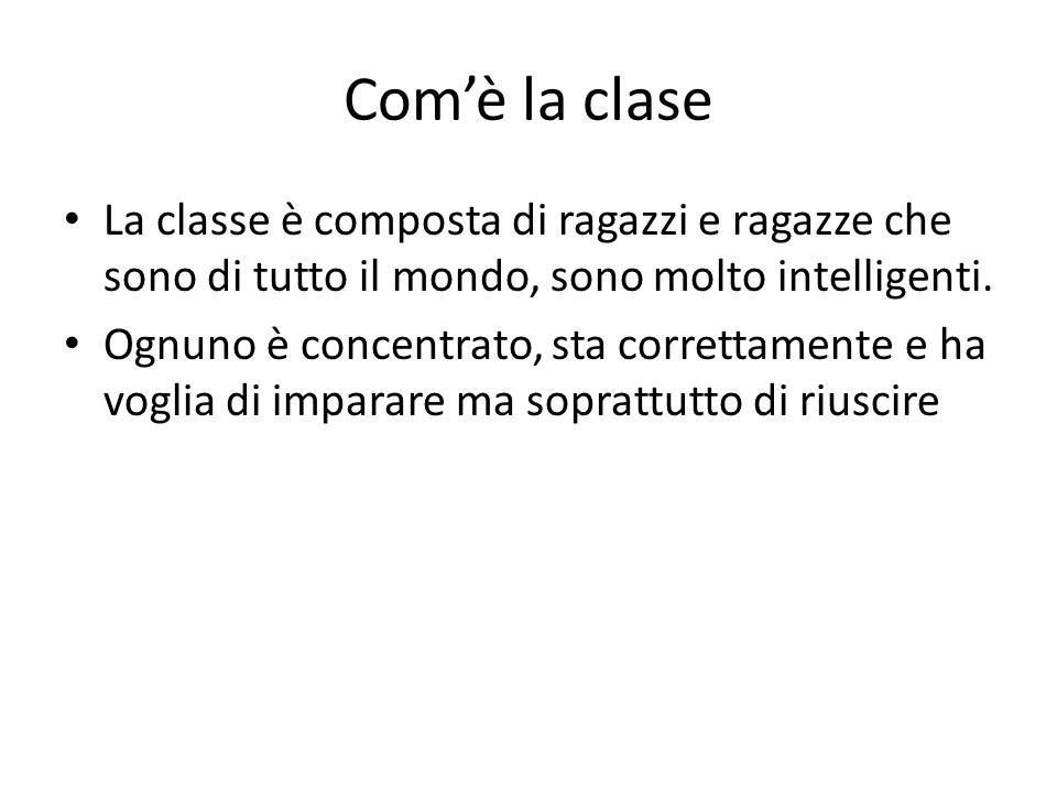Com'è la clase La classe è composta di ragazzi e ragazze che sono di tutto il mondo, sono molto intelligenti. Ognuno è concentrato, sta correttamente