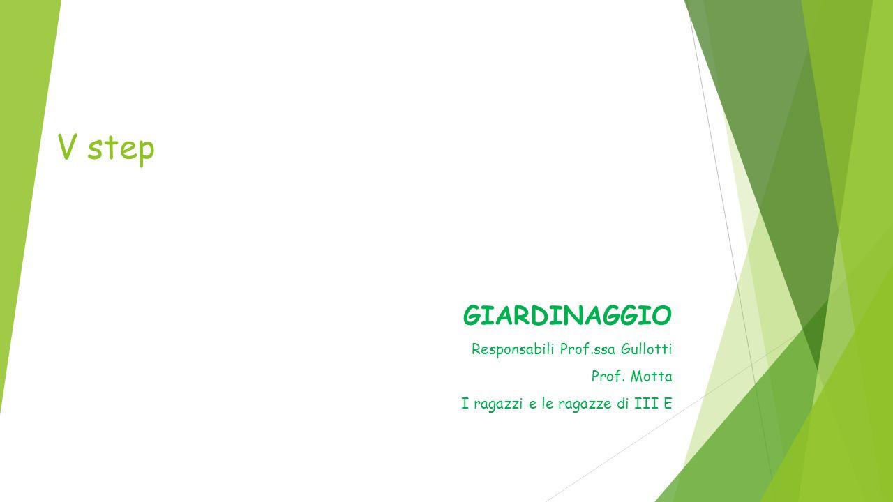 V step GIARDINAGGIO Responsabili Prof.ssa Gullotti Prof. Motta I ragazzi e le ragazze di III E