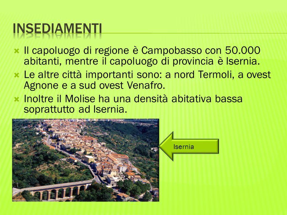  Il capoluogo di regione è Campobasso con 50.000 abitanti, mentre il capoluogo di provincia è Isernia.  Le altre città importanti sono: a nord Termo