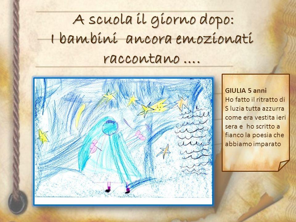 A scuola il giorno dopo: I bambini ancora emozionati raccontano …. GIULIA 5 anni Ho fatto il ritratto di S luzia tutta azzurra come era vestita ieri s