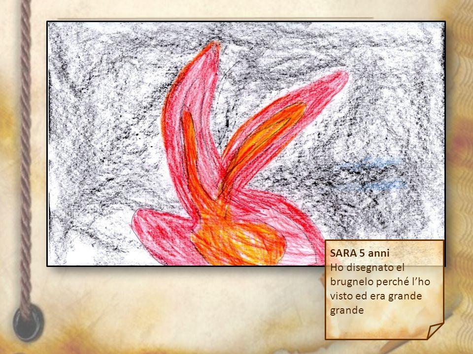 SARA 5 anni Ho disegnato el brugnelo perché l'ho visto ed era grande grande