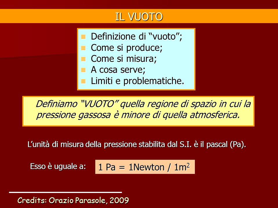 "IL VUOTO Definizione di ""vuoto""; Definizione di ""vuoto""; Come si produce; Come si produce; Come si misura; Come si misura; A cosa serve; A cosa serve;"