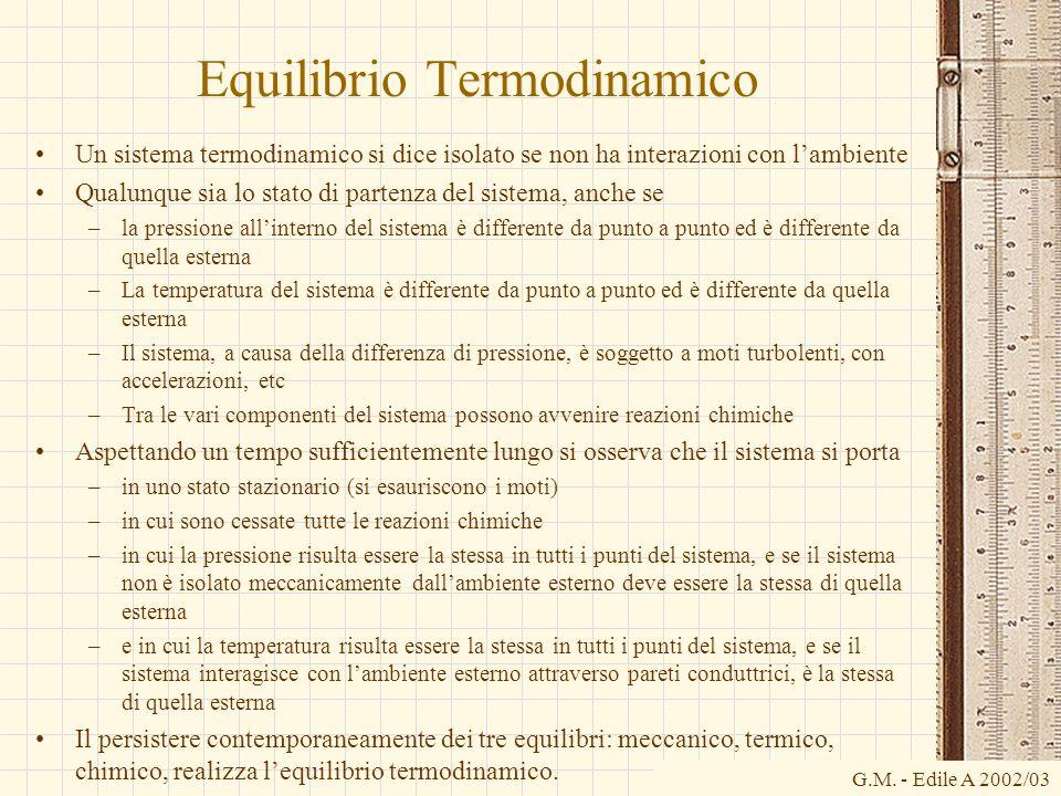 G.M. - Edile A 2002/03 Equilibrio Termodinamico Un sistema termodinamico si dice isolato se non ha interazioni con l'ambiente Qualunque sia lo stato d