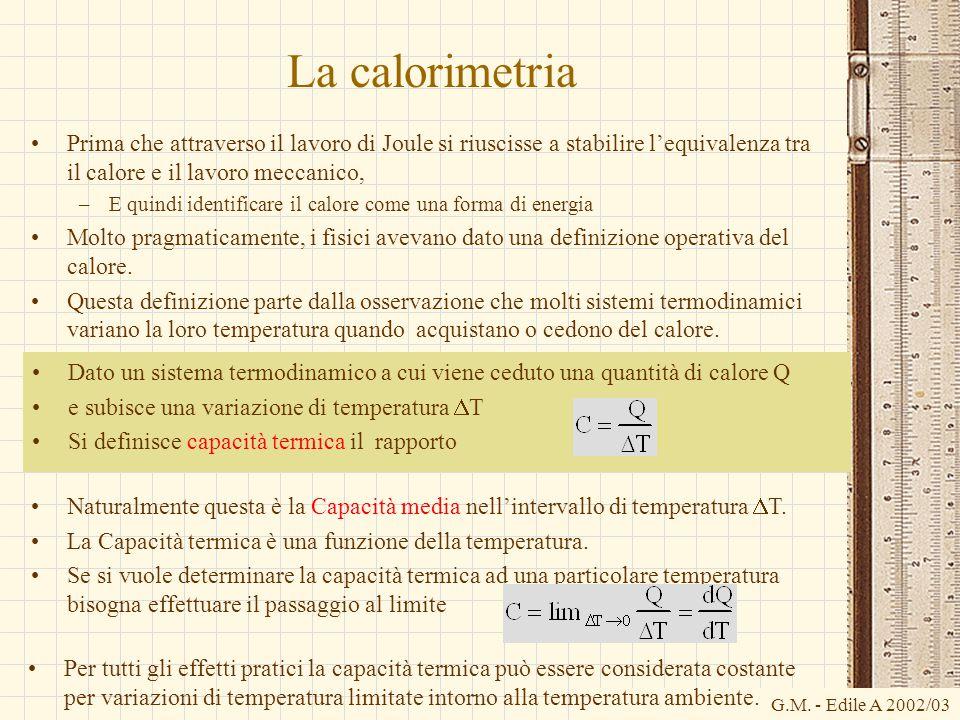 G.M. - Edile A 2002/03 Dato un sistema termodinamico a cui viene ceduto una quantità di calore Q e subisce una variazione di temperatura  T Si defini