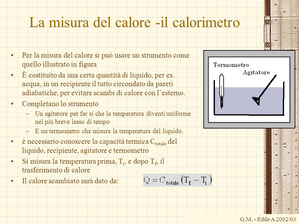 G.M. - Edile A 2002/03 La misura del calore -il calorimetro Per la misura del calore si può usare un strumento come quello illustrato in figura È cost
