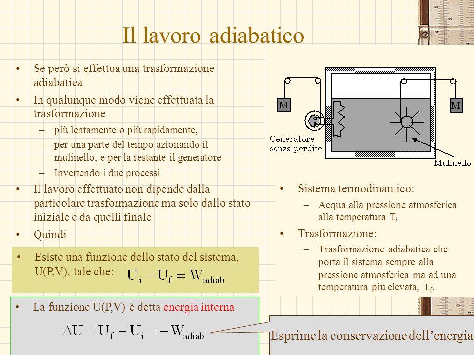 G.M. - Edile A 2002/03 Il lavoro adiabatico Se però si effettua una trasformazione adiabatica In qualunque modo viene effettuata la trasformazione –pi