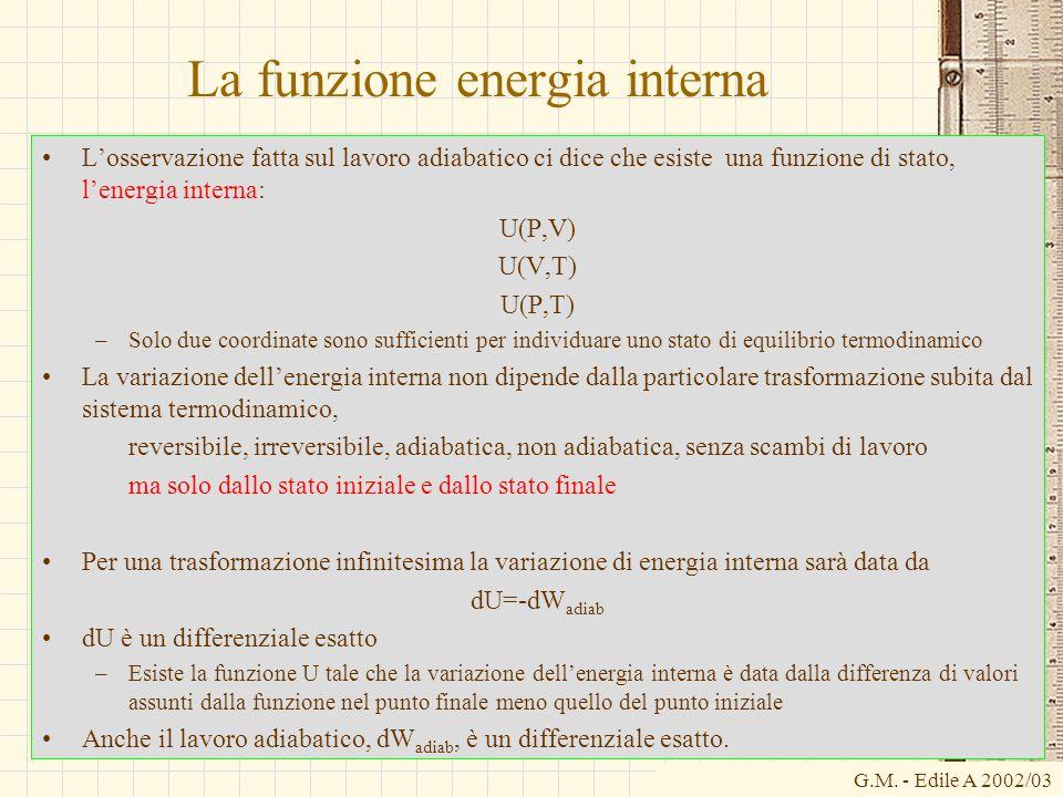G.M. - Edile A 2002/03 La funzione energia interna L'osservazione fatta sul lavoro adiabatico ci dice che esiste una funzione di stato, l'energia inte
