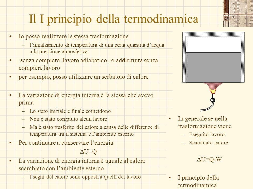 G.M. - Edile A 2002/03 Il I principio della termodinamica Io posso realizzare la stessa trasformazione –l'innalzamento di temperatura di una certa qua