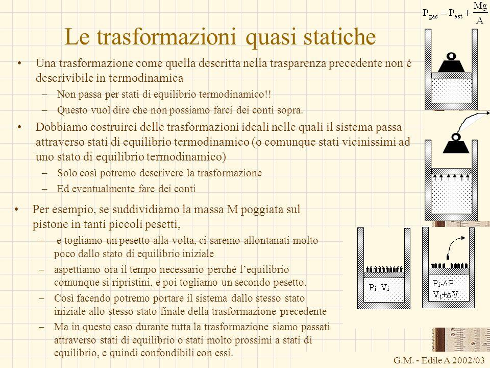G.M. - Edile A 2002/03 Le trasformazioni quasi statiche Una trasformazione come quella descritta nella trasparenza precedente non è descrivibile in te
