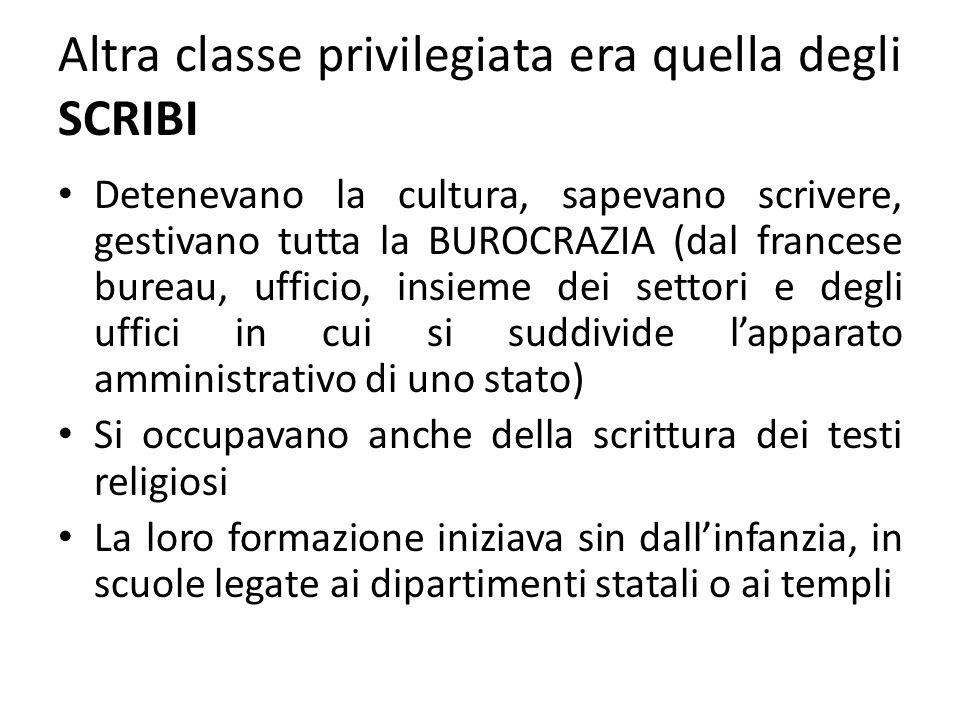 Altra classe privilegiata era quella degli SCRIBI Detenevano la cultura, sapevano scrivere, gestivano tutta la BUROCRAZIA (dal francese bureau, uffici