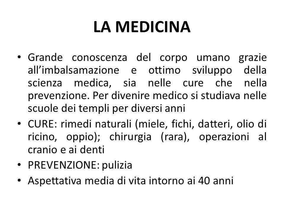 LA MEDICINA Grande conoscenza del corpo umano grazie all'imbalsamazione e ottimo sviluppo della scienza medica, sia nelle cure che nella prevenzione.