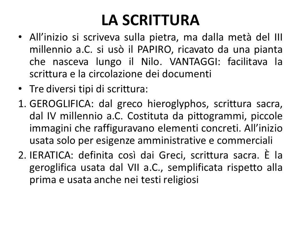 LA SCRITTURA All'inizio si scriveva sulla pietra, ma dalla metà del III millennio a.C. si usò il PAPIRO, ricavato da una pianta che nasceva lungo il N