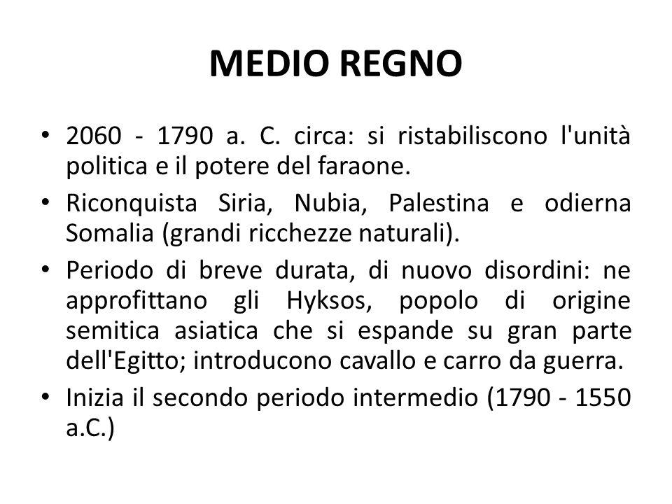 MEDIO REGNO 2060 - 1790 a. C. circa: si ristabiliscono l'unità politica e il potere del faraone. Riconquista Siria, Nubia, Palestina e odierna Somalia