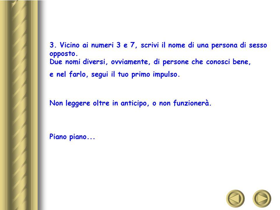 4.Scrivi il nome di tre persone (amici, familiari...) vicino ai numeri: 4, 5 e 6.