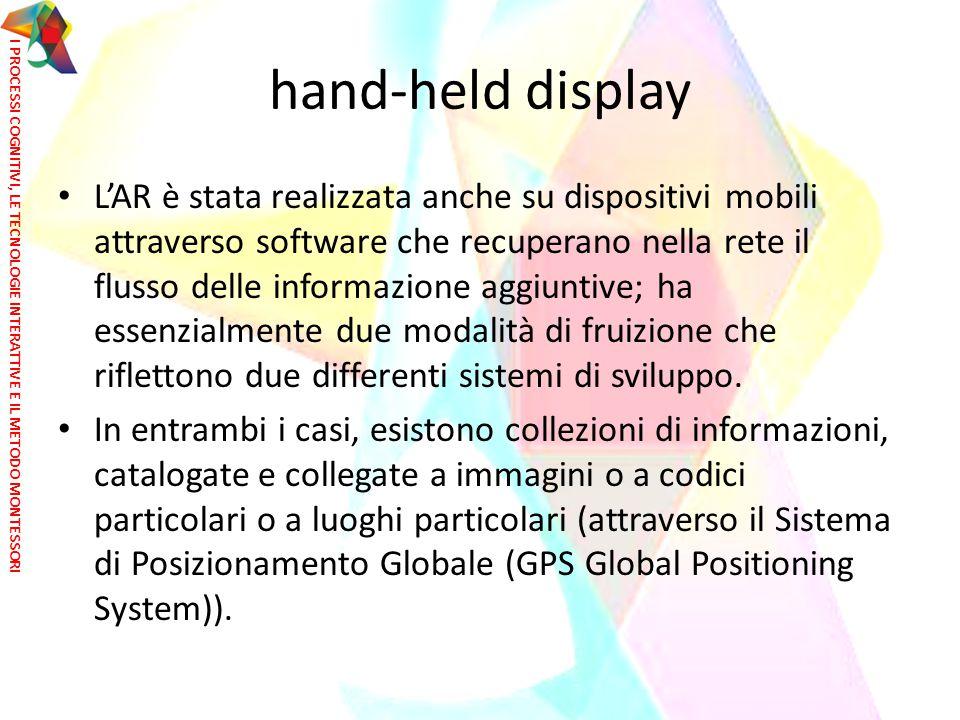 hand-held display L'AR è stata realizzata anche su dispositivi mobili attraverso software che recuperano nella rete il flusso delle informazione aggiu