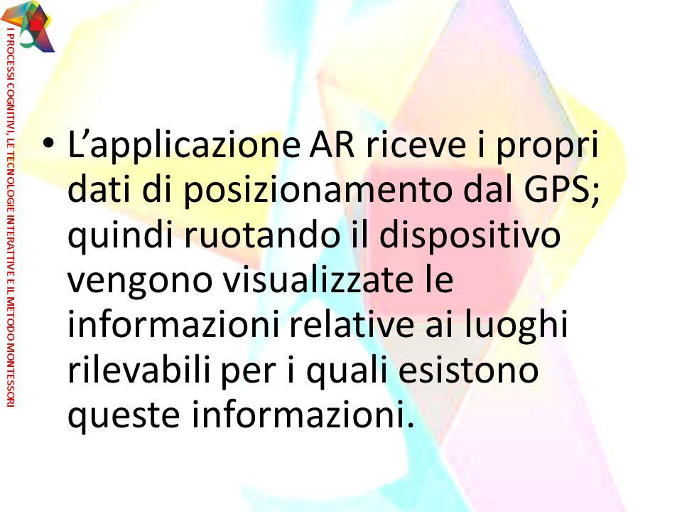 L'applicazione AR riceve i propri dati di posizionamento dal GPS; quindi ruotando il dispositivo vengono visualizzate le informazioni relative ai luog