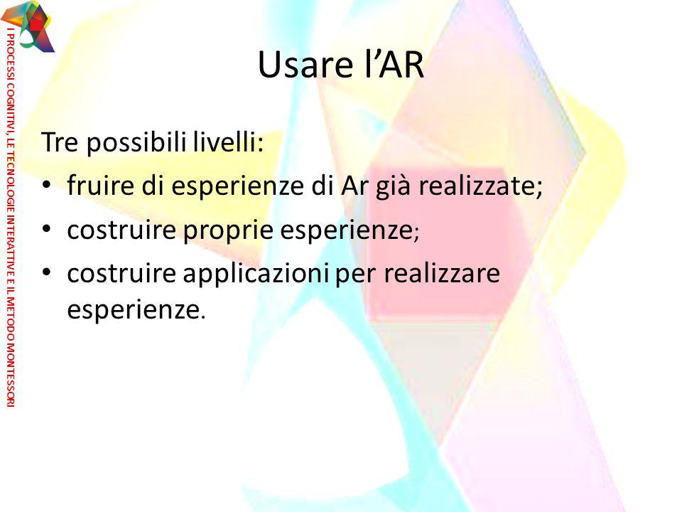 Usare l'AR Tre possibili livelli: fruire di esperienze di Ar già realizzate; costruire proprie esperienze ; costruire applicazioni per realizzare espe