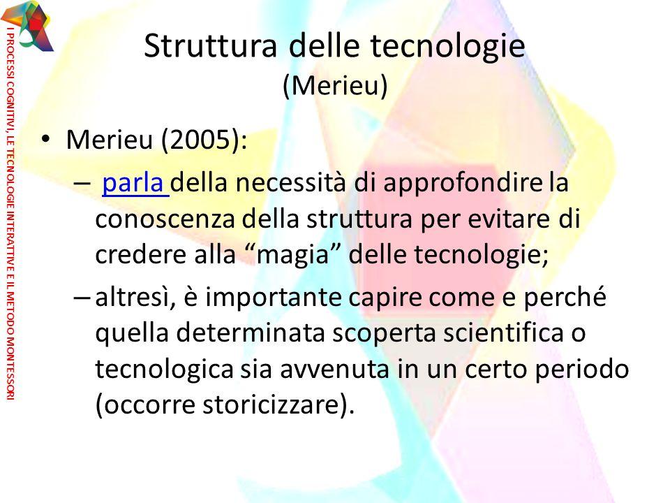 """Struttura delle tecnologie (Merieu) Merieu (2005): – parla della necessità di approfondire la conoscenza della struttura per evitare di credere alla """""""