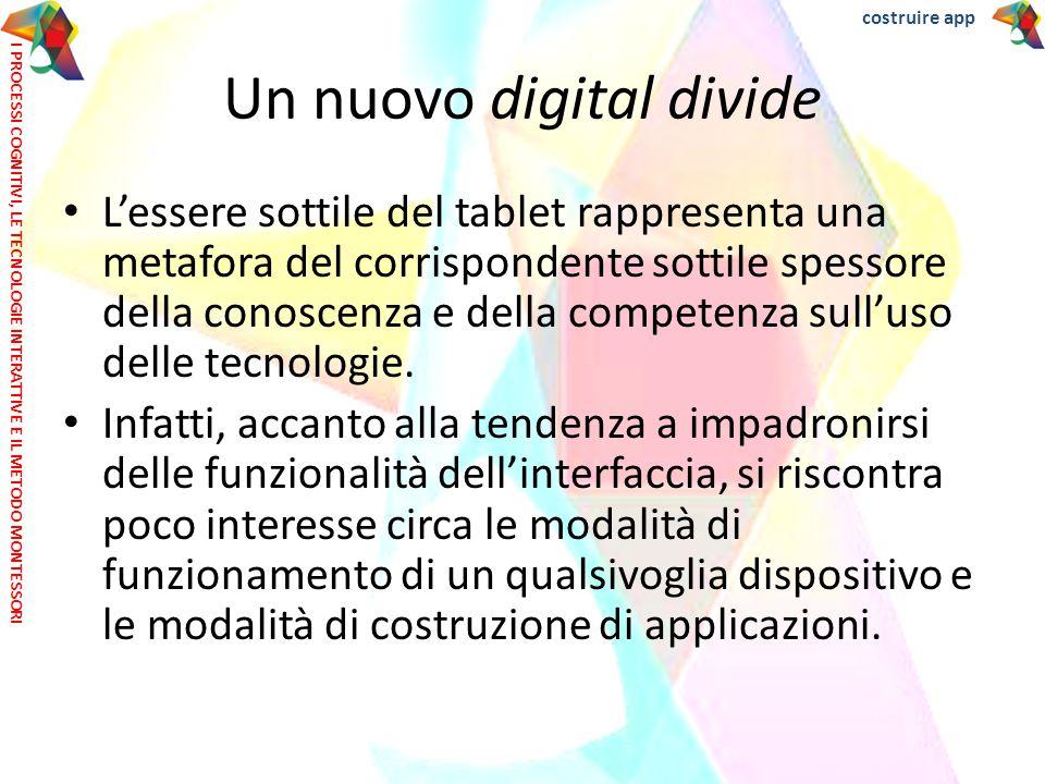 L'essere sottile del tablet rappresenta una metafora del corrispondente sottile spessore della conoscenza e della competenza sull'uso delle tecnologie