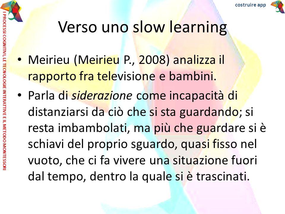 Verso uno slow learning Meirieu (Meirieu P., 2008) analizza il rapporto fra televisione e bambini. Parla di siderazione come incapacità di distanziars