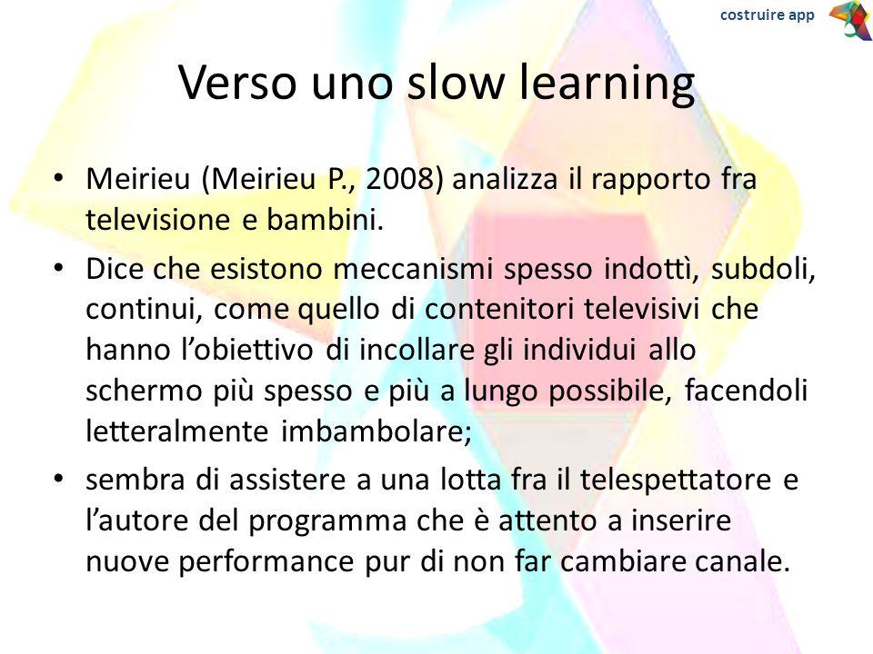 Meirieu (Meirieu P., 2008) analizza il rapporto fra televisione e bambini. Dice che esistono meccanismi spesso indottì, subdoli, continui, come quello