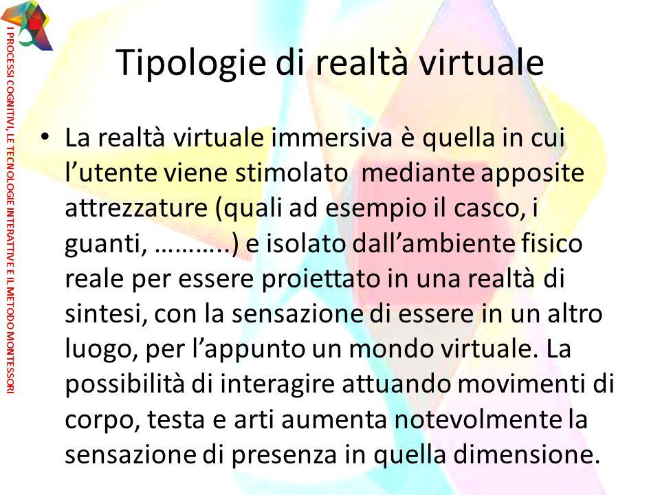 Tipologie di realtà virtuale La realtà virtuale immersiva è quella in cui l'utente viene stimolato mediante apposite attrezzature (quali ad esempio il