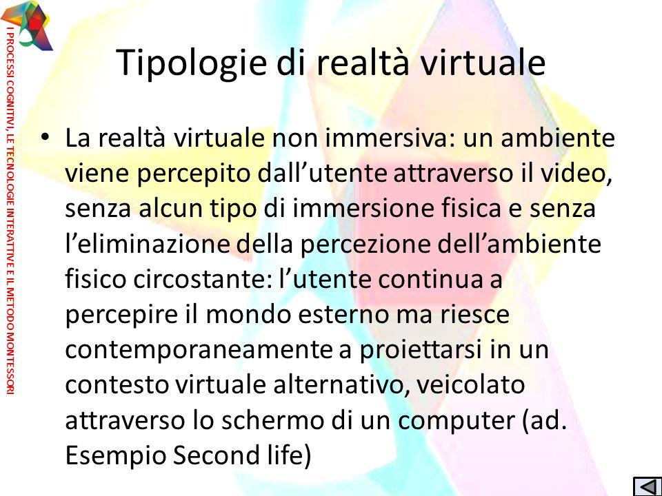 La realtà virtuale non immersiva: un ambiente viene percepito dall'utente attraverso il video, senza alcun tipo di immersione fisica e senza l'elimina