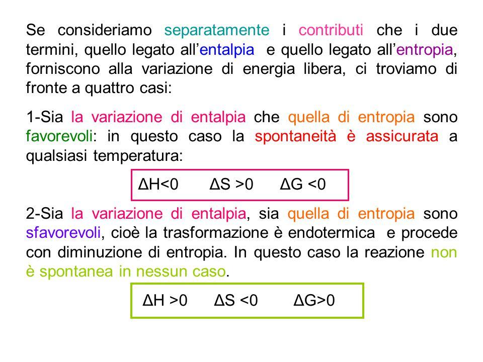 Se consideriamo separatamente i contributi che i due termini, quello legato all'entalpia e quello legato all'entropia, forniscono alla variazione di e