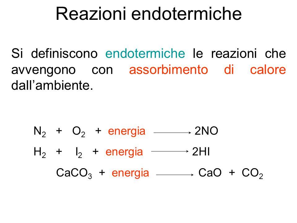 Reazioni endotermiche Si definiscono endotermiche le reazioni che avvengono con assorbimento di calore dall'ambiente. N 2 + O 2 + energia 2NO H 2 + I