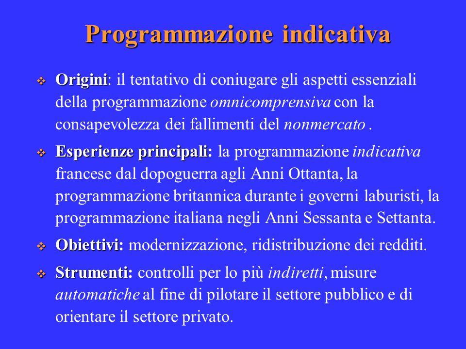 Programmazione indicativa  Origini  Origini: il tentativo di coniugare gli aspetti essenziali della programmazione omnicomprensiva con la consapevolezza dei fallimenti del nonmercato.