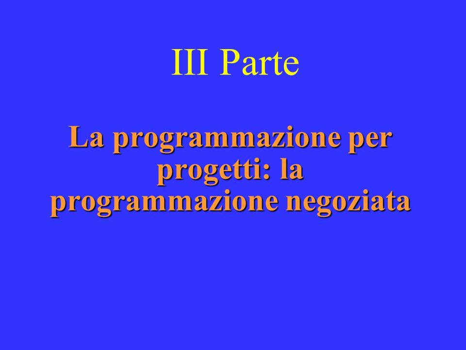 III Parte La programmazione per progetti: la programmazione negoziata