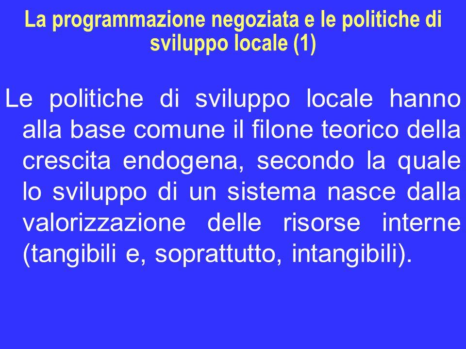 La programmazione negoziata e le politiche di sviluppo locale (1) Le politiche di sviluppo locale hanno alla base comune il filone teorico della crescita endogena, secondo la quale lo sviluppo di un sistema nasce dalla valorizzazione delle risorse interne (tangibili e, soprattutto, intangibili).