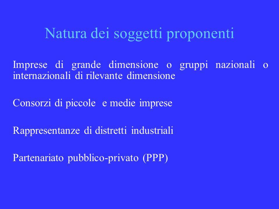 Natura dei soggetti proponenti Imprese di grande dimensione o gruppi nazionali o internazionali di rilevante dimensione Consorzi di piccole e medie imprese Rappresentanze di distretti industriali Partenariato pubblico-privato (PPP)