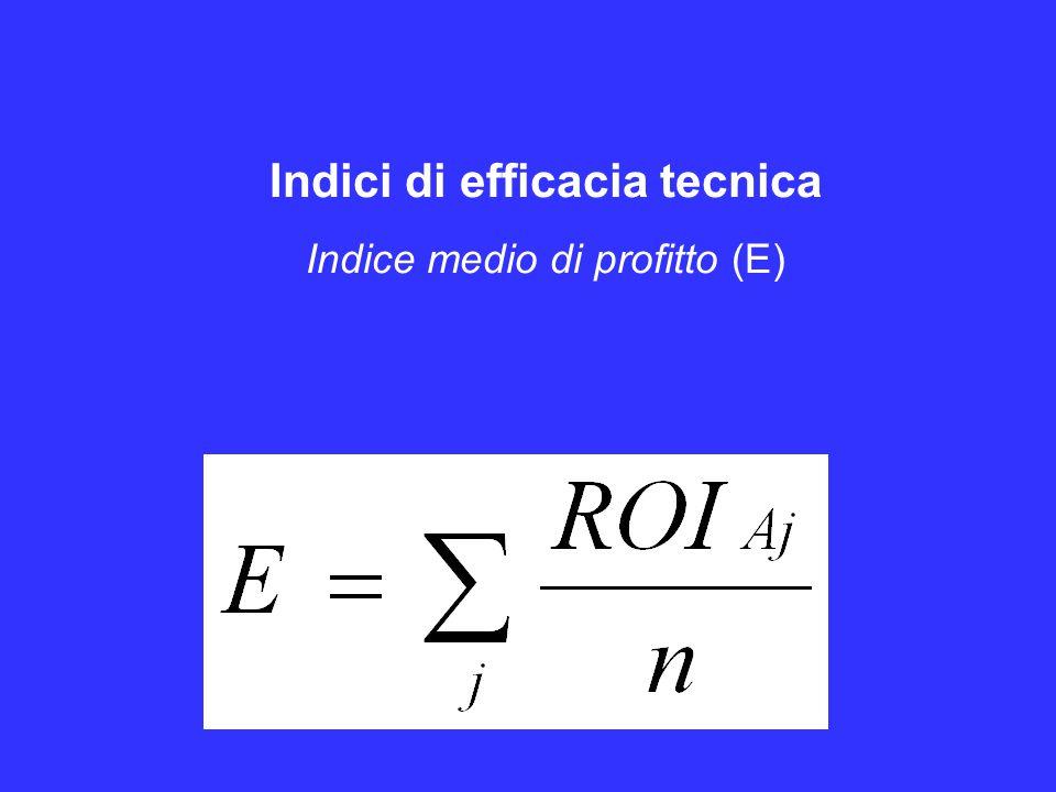Indici di efficacia tecnica Indice medio di profitto (E)