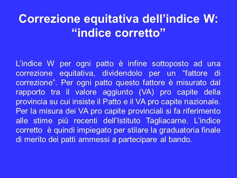 Correzione equitativa dell'indice W: indice corretto L'indice W per ogni patto è infine sottoposto ad una correzione equitativa, dividendolo per un fattore di correzione .
