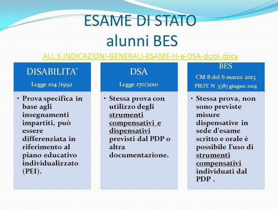 ESAME DI STATO alunni BES ALL.5.INDICAZIONI-GENERALI-ESAME-H-e-DSA-docx.docx ALL.5.INDICAZIONI-GENERALI-ESAME-H-e-DSA-docx.docx DISABILITA' Legge 104
