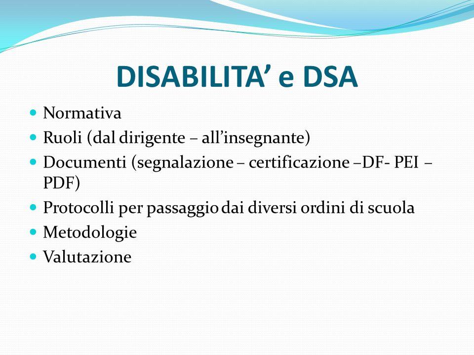 DISABILITA' e DSA Normativa Ruoli (dal dirigente – all'insegnante) Documenti (segnalazione – certificazione –DF- PEI – PDF) Protocolli per passaggio d