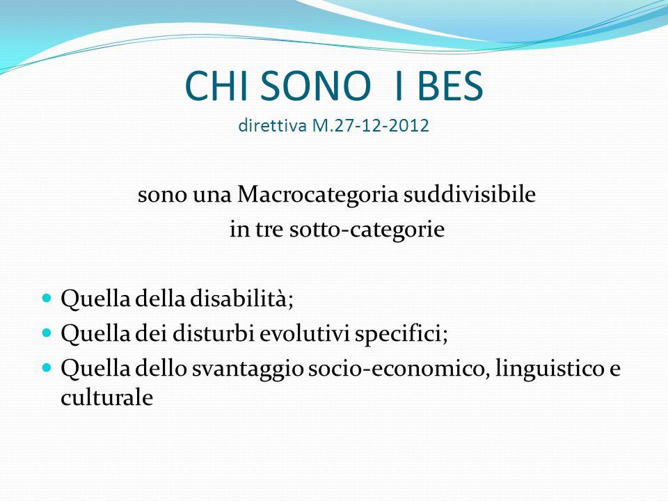 CHI SONO I BES direttiva M.27-12-2012 sono una Macrocategoria suddivisibile in tre sotto-categorie Quella della disabilità; Quella dei disturbi evolut