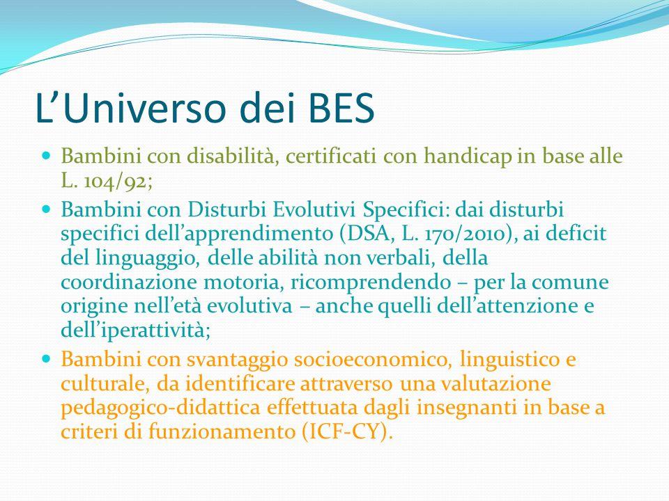 L'Universo dei BES Bambini con disabilità, certificati con handicap in base alle L. 104/92; Bambini con Disturbi Evolutivi Specifici: dai disturbi spe