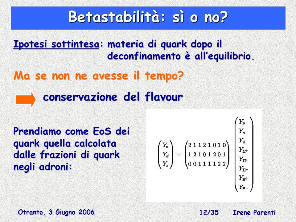 Otranto, 3 Giugno 2006 12/35 Irene Parenti Betastabilità: sì o no.