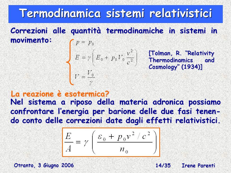 Otranto, 3 Giugno 2006 14/35 Irene Parenti Termodinamica sistemi relativistici Correzioni alle quantità termodinamiche in sistemi in movimento: [Tolman, R.