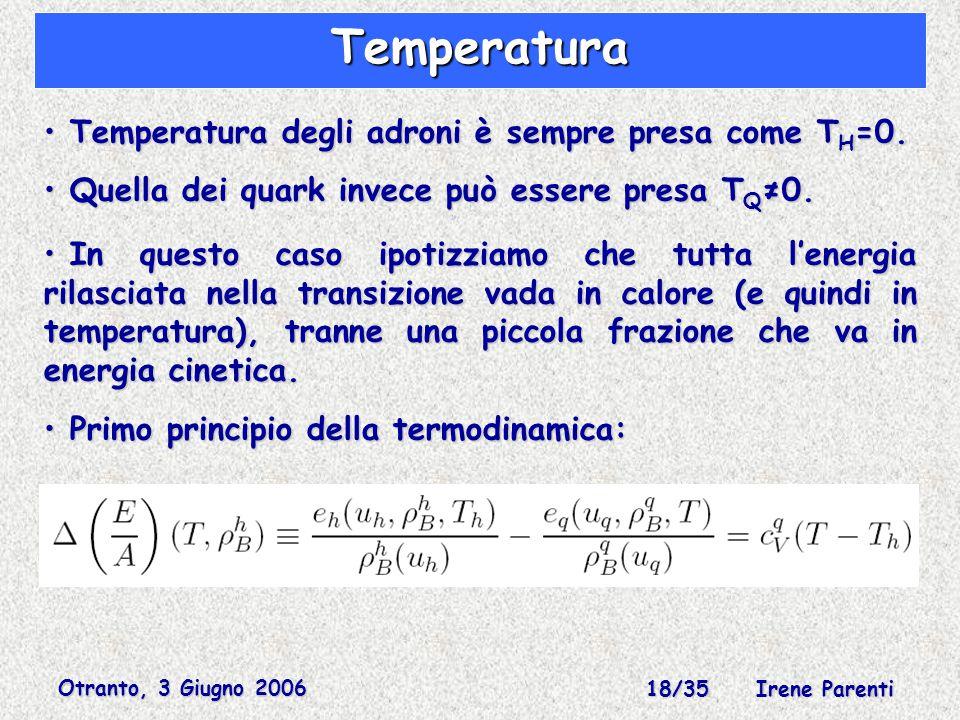 Otranto, 3 Giugno 2006 18/35 Irene Parenti Temperatura Temperatura degli adroni è sempre presa come T H =0.