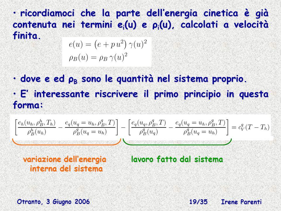 Otranto, 3 Giugno 2006 19/35 Irene Parenti ricordiamoci che la parte dell'energia cinetica è già contenuta nei termini e i (u) e ρ i (u), calcolati a velocità finita.