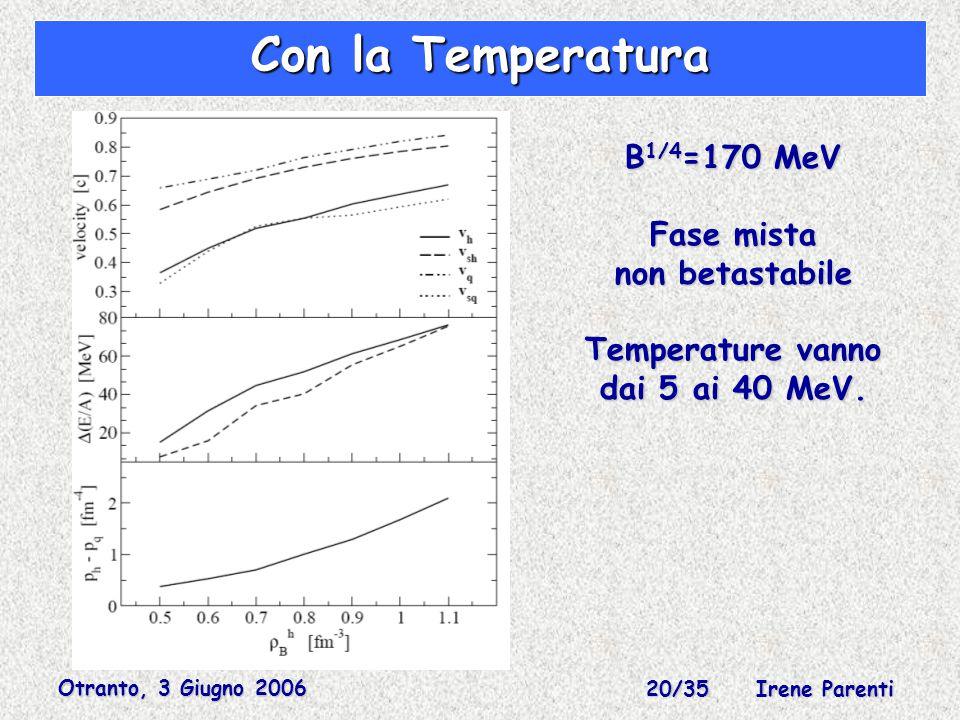 Otranto, 3 Giugno 2006 20/35 Irene Parenti Con la Temperatura B 1/4 =170 MeV Fase mista non betastabile Temperature vanno dai 5 ai 40 MeV.