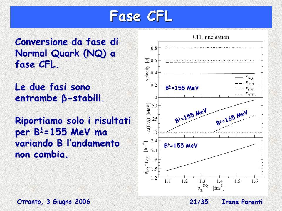 Otranto, 3 Giugno 2006 21/35 Irene Parenti Fase CFL Conversione da fase di Normal Quark (NQ) a fase CFL.