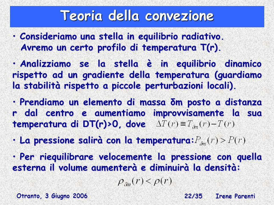 Otranto, 3 Giugno 2006 22/35 Irene Parenti Teoria della convezione Consideriamo una stella in equilibrio radiativo.