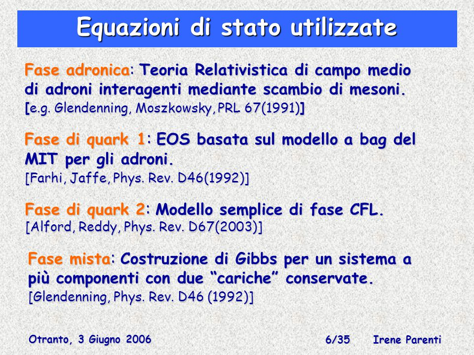 Otranto, 3 Giugno 2006 6/35 Irene Parenti Fase adronica: Teoria Relativistica di campo medio di adroni interagenti mediante scambio di mesoni.