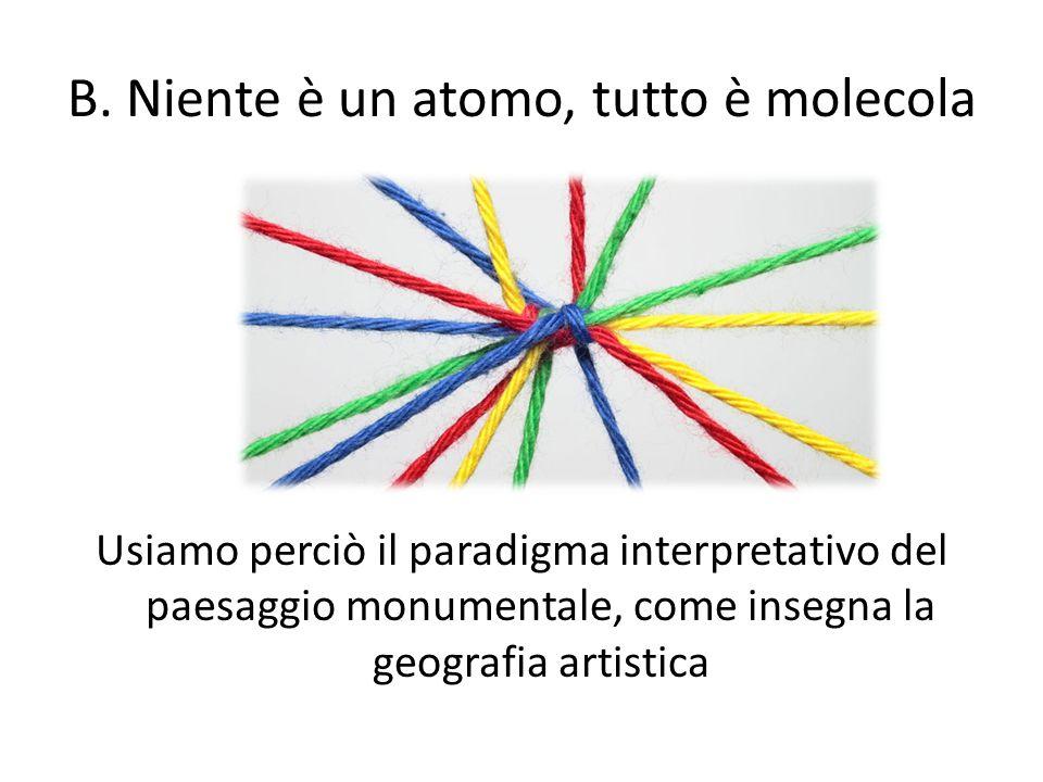 B. Niente è un atomo, tutto è molecola Usiamo perciò il paradigma interpretativo del paesaggio monumentale, come insegna la geografia artistica